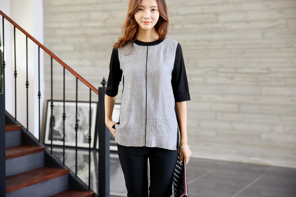 헤링본 패턴 멋스러운 티셔츠에요 (예뻐)