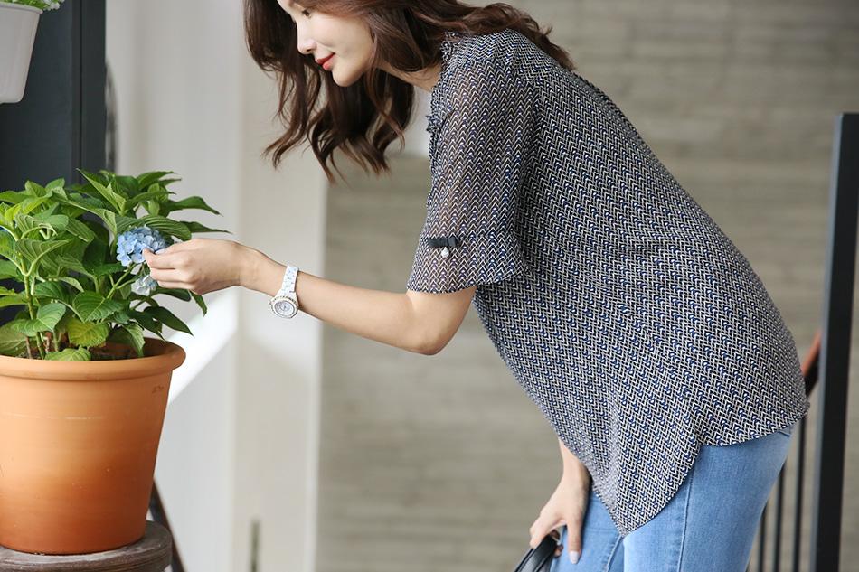 소매단 리본, 진주 디테일이 사랑스러워요 (예뻐)