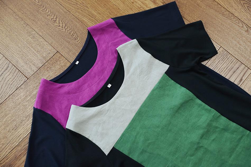세련된 배색색감을 가진 티셔츠 (예뻐)