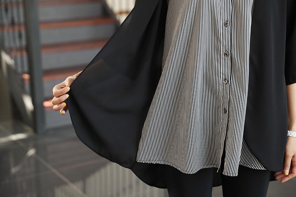 셔츠와 가디건을 레이어드 한 듯한 디자인:)