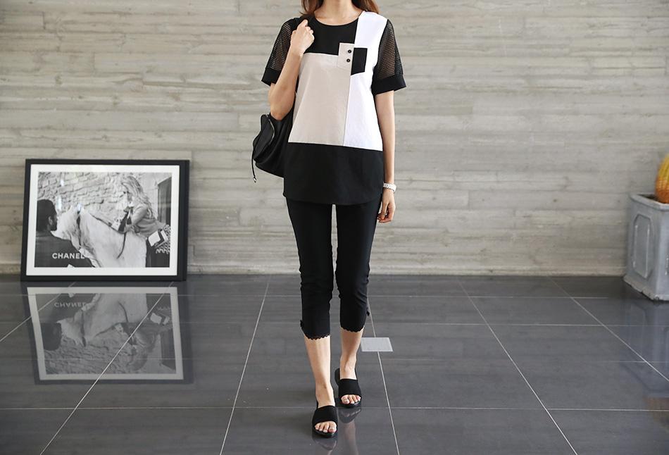 독특한 배색으로 유니크한 디자인을 뽐내는 티셔츠!