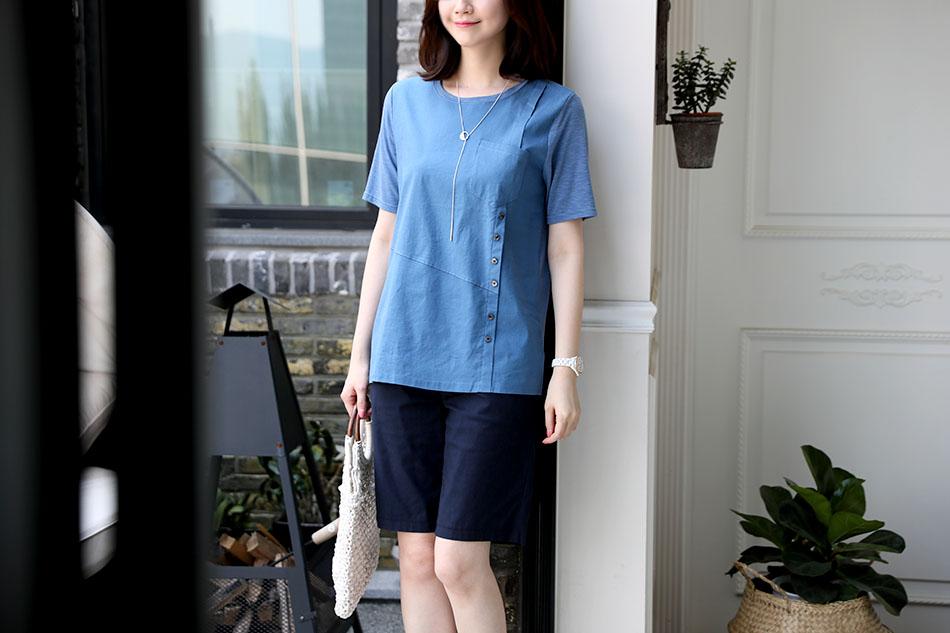 소재배색으로 더욱 매력적인 티셔츠 :)