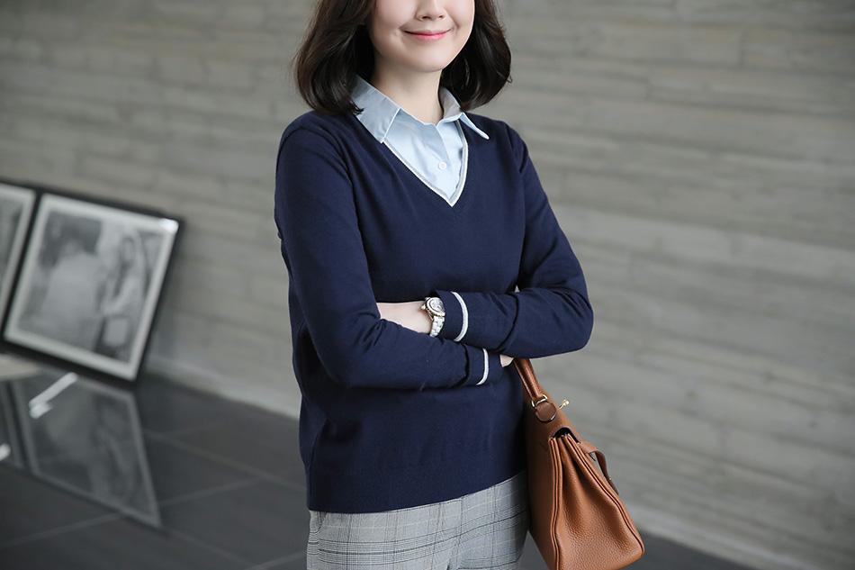 '캔디톡 V넥니트'와 레이어드