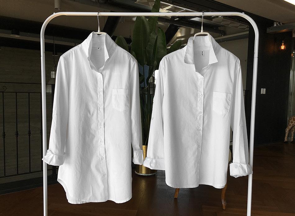 왼쪽 긴 셔츠가 '계속입는 롱기본셔츠'