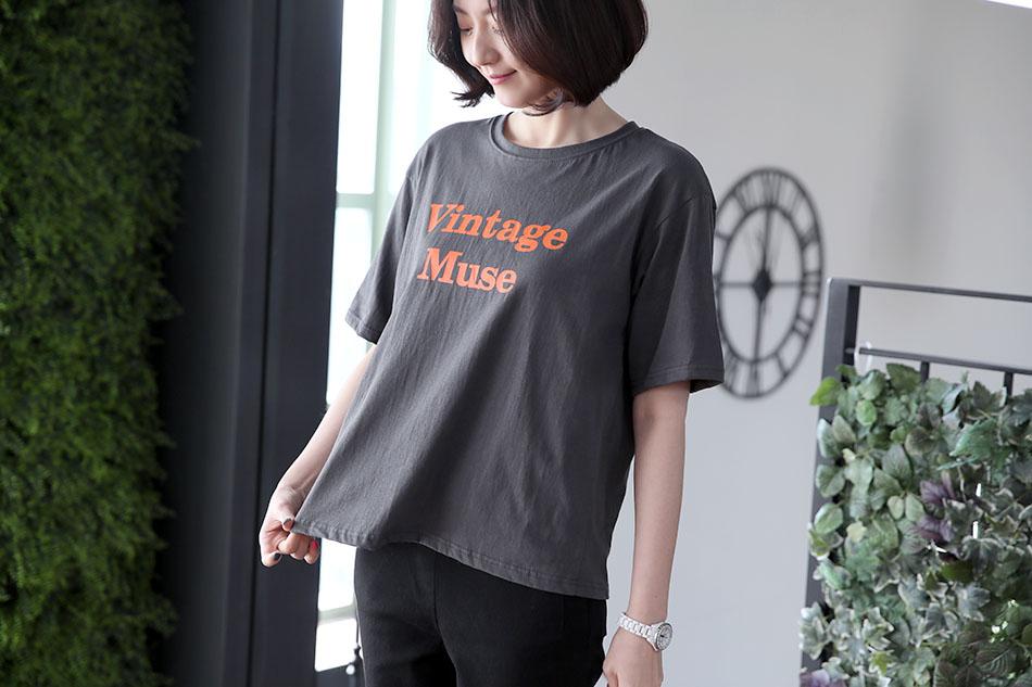 얇고 가벼운 소재의 레터링 티셔츠 ♡