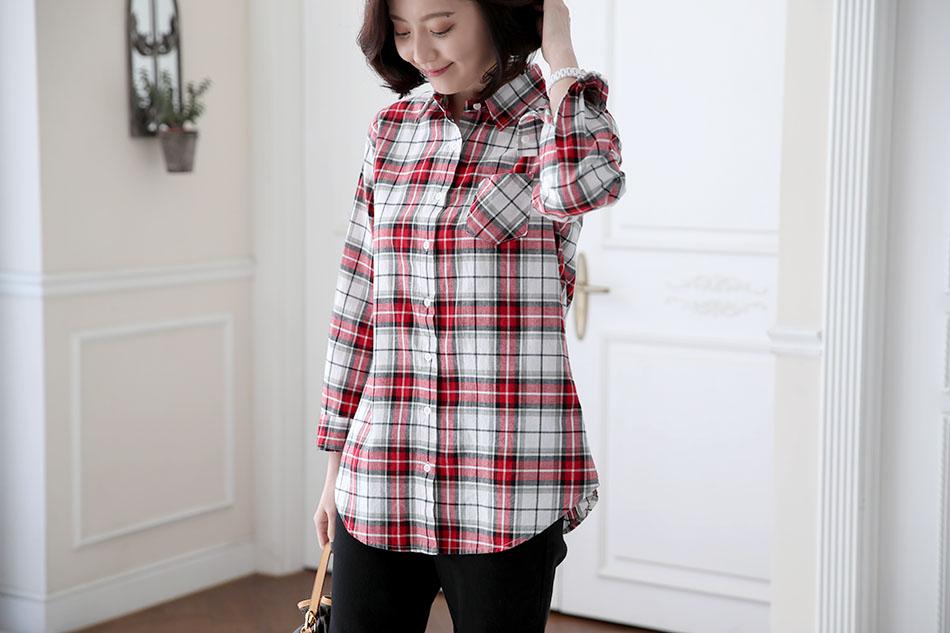깔끔한 체크배색의 셔츠 ♥