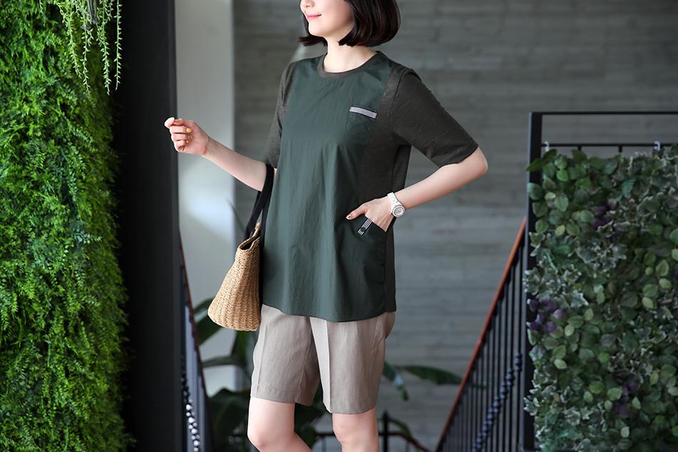 슬림해보이는 배색패턴의 티셔츠~