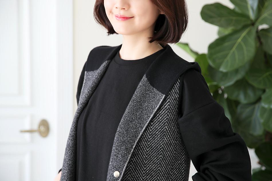 동안룩을 완성시켜줄 후드조끼♡(윙크)